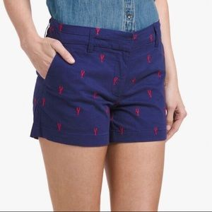 British Khaki Embroidered Lobster Pattern Shorts